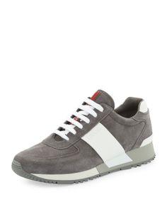 484dcd37390 Prada Linea Rossa Two-Tone Chunky-Sole Suede Sneaker
