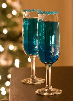 Blue Sparkling Star- champagne, blue curacao, and vodka topped with blue sprinkles!