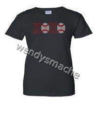 Women's Rhinestone XOXO Baseball Tshirt by WendysMache on Etsy, $15.99