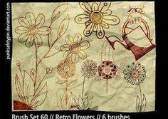 Pinceles retros flores