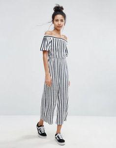 Bershka Wide Leg Striped Culotte Jumpsuit