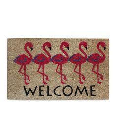Loving this Flamingo 'Welcome' Coir Doormat on #zulily! #zulilyfinds
