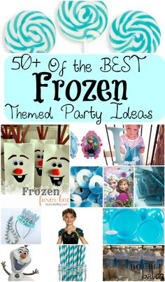 50 + of the BEST Frozen Themed Party Ideas marshmallow pops, olaf party bags