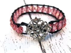 Pink Leather Wrap Bracelet with Blush Pink Czech by GloryGift, $40.00