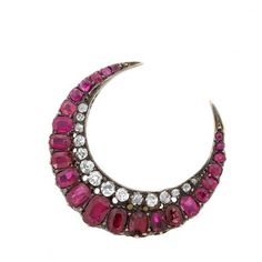 Antique Silver, Gold, Ruby and Diamond Crescent Pin for Sale at Auction on Thu, 06/20/2013 - 07:00 - Fine Jewelry Sale   Doyle Auction House