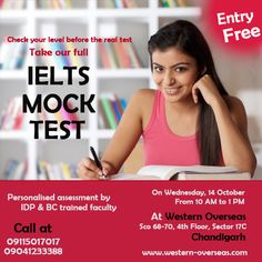 FREE #‪IELTS‬ #diagnometric Test on Wednesday, 14th ‪‎October‬ (Tomorrow) in ‪Chandigarh‬. Check your level before final Exam.