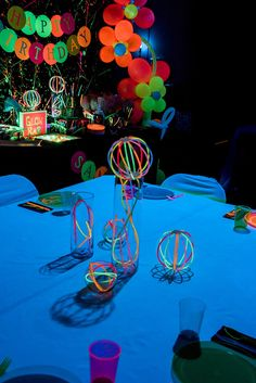 Glow in the Dark Guest Table from a Neon Glow Birthday Party on Kara's Party Ideas | KarasPartyIdeas.com (11)