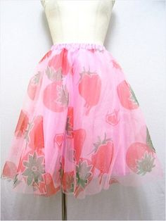 Strawberry Pattern Tulle Skirt available at http://www.cdjapan.co.jp/apparel/new_arrival.html?brand=SLV