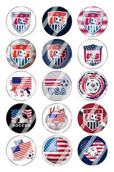 """American Soccer Cup Bottle Cap 1"""" Circle Images #1 (instant download or pre cut)"""