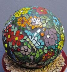 Glass Mosaic Garden Sphere