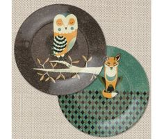 Wildlife Dinner Plates, Fox & Owl from http://www.flamingogifts.co.uk/products/wildlife-dinner-plates-fox-and-owl
