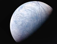 Europa, icy moon of Jupiter Outer Space Pictures, Space Photos, Jupiter Moons, Sailor Jupiter, Galileo Spacecraft, Jupiter's Moon Europa, All Planets, Space Tourism, Star Wars