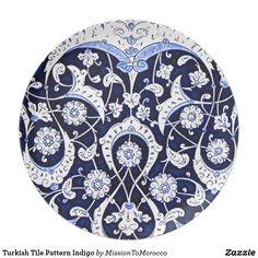 Turkish Tile Pattern Indigo Plate