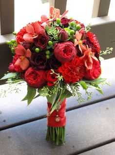 Red bridal bouquet with greenery - pretty mix (With Thistle?)