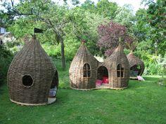 Woven Willow Onion-shaped Garden Hideaways by Judith Needham (UK)