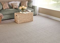 Create the perfect on trend Coastal living room with our Kauai On Trend Carpet in Stone. This gorgeous carpet has a textured chevron flatweave pattern and is available as a custom finished rug or as wall to wall carpeting. It retails starting at $7.19 SQ FT.