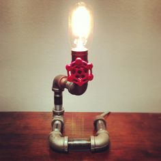 Steel pipe lamp with gate valve on/off switch! #homedecor #art #steelpipe #lamp #edisonbulb #texture #rustic