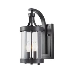 Caged 2-Light Aged Iron Large Outdoor Wall Lantern
