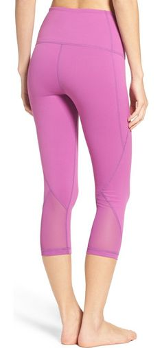 'hatha' high waist crop leggings by Zella. Breezy mesh panels ventilate snug leggings designed with a flattering high waistband and cropped ankles.