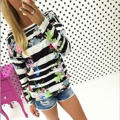 Floral O-neck Long Sleeve T-shirt Tops_Tees / T-shirt_Women_Women's Fashion Zone & Best Price Clothes
