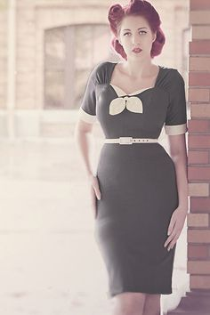 In stock pinup girl dress Gwen rockabilly clothing 1940s style soft stretch tropical weight gorgeous Gray. $110.00, via Etsy.