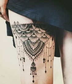 97 Best Sexiest Thigh Tattoos for Girls, 55 Thigh Tattoos to Accentuate Your Feminine Curves, 50 Best Thigh Tattoos Designs and Ideas, 101 Iest Thigh Tattoos for Girls, 150 Y Thigh Tattoos for Women Mind Blowing Pictures. Lace Tattoo Design, Full Sleeve Tattoo Design, Thigh Tattoo Designs, Design Tattoos, Sugar Skull Tattoos, Leg Tattoos, Sleeve Tattoos, Garter Tattoos, Rosary Tattoos