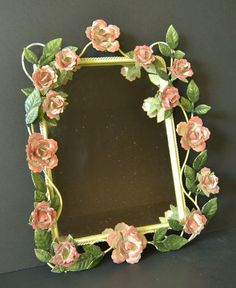 Vintage Metal Rose Framed Mirror  Cottage by WidhalmsCollectibles