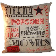 Featuring decorative words such as Cinema, Popcorn, and Movie on the front, this beige pillow will be perfect for your theater room or living room. You can use this pillow to decorate any room or as t