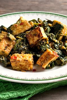 Tofu Saag Paneer (Tofu With Spinach, Ginger, Coriander and Turmeric) Recipe - NYT Cooking Spinach Recipes, Tofu Recipes, Indian Food Recipes, Chicken Recipes, Vegetarian Recipes, Cooking Recipes, Healthy Recipes, Cooking Tofu, Uk Recipes