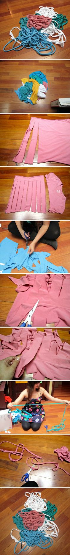 How to make yarn with used t shirts step by step DIY tutorial instructions How to make yarn with used t shirts step by step DIY tutorial ins...