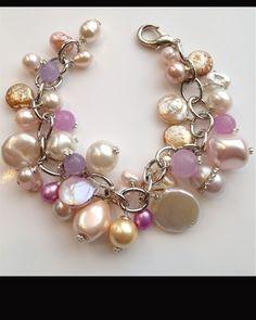 Freshwater Pear & Muted Lavender Jade Bracelet - $58
