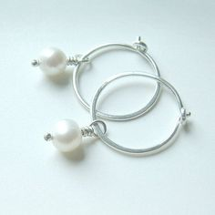 Silver Hoop Earrings Small Hoop Pearl Earrings Sterling Silver Hoops June birthstone jewelry gift