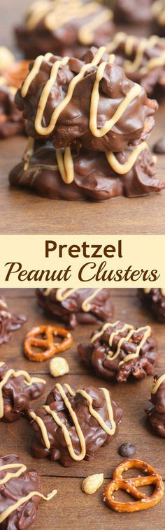 Clusters These delicious, no-bake, chocolate Pretzel Peanut Clusters take just minutes to make and are the perfect bite-size treat!These delicious, no-bake, chocolate Pretzel Peanut Clusters take just minutes to make and are the perfect bite-size treat! Mini Desserts, Just Desserts, Delicious Desserts, Yummy Food, Candy Recipes, Sweet Recipes, Cookie Recipes, Dessert Recipes, Pretzel Recipes
