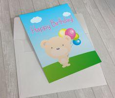 Cute Bear Printable Birthday Card  #HappyBirthday #BirthdayCard #CuteBirthdayCard #FunnyBirthdayCard #Kawaii