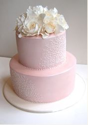 pale pink with ivory flowers