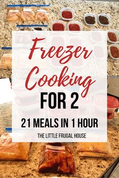 This freezer cooking for 2 plan will help you get ahead of dinnertime, and make meals in bulk to save you time and money. You will love having dinner ready every night with little effort. I'll show you how to make 21 meals for 2 in just 1 hour! Chicken Freezer Meals, Freezable Meals, Freezer Friendly Meals, Make Ahead Freezer Meals, Freezer Meal Party, Crock Pot Freezer, Bulk Cooking, Batch Cooking, Freezer Cooking