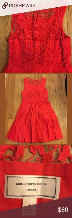 Anthropologie Moulinette Soeurs Lace Back Dress Absolutely stunning red, lace back red dress! Very classy and feminine. Fit and flare. Perfect for the holidays! Anthropologie Dresses