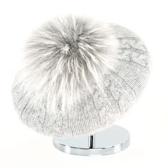 Cable Beret with Fur Puff - Silver Cashmere Beanie, Beret, Cable, Fur, Silver, Collection, Cabo, Berets, Money
