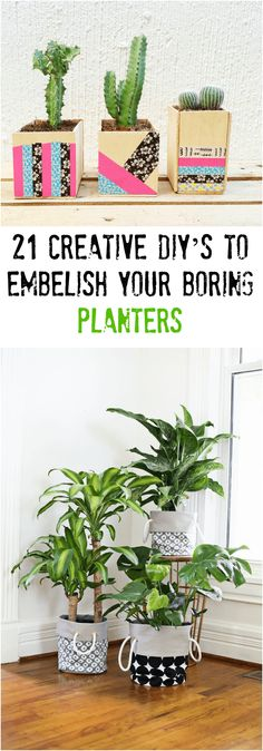 21 Creative DIY's To Embelish Your Boring Planters #diy #planters #projects #home