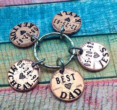 Best Dad, Father's Day Gift,  Lucky Daddy Key chain, Husband Gift, Lucky Dad, Gift For Him, Custom Key Ring, Custom Penny key ring, engraved