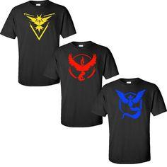 Support your Pokemon GO Team! Choose a Team Instinct, Team Valor, or Team Mystic shirt!