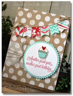 Stampin' Up! Fresh Prints dsp stack, banner punch, Another Great Year stamp set