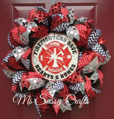 Firefighter Deco Mesh Wreath by MsSassyCrafts on Etsy https://www.etsy.com/listing/229434172/firefighter-deco-mesh-wreath