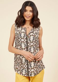 Podcast Co-Host Sleeveless Top in Butterflies in 2X, #ModCloth