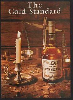 1973 HENNESSY Cognac - The Gold Standard - Gold Coins - Scale -  VINTAGE AD