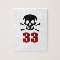 #33 Birthday Designs Jigsaw Puzzle - #giftidea #gift #present #idea #number #33 #thirty-third #thirty #thirtythird #bday #birthday #33rdbirthday #party #anniversary #33rd
