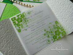 Handmade by Meda: Green and White Summer Wedding Invitations (Invitatii alb si verde pentru o nunta de vara)