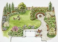 Garden Planning Day or night, this landscape plan offers the amenities you need for large and small outdoor gatherings. - Day or night, this landscape plan offers the amenities you need for large and small outdoor gatherings. Privacy Landscaping, Front Yard Landscaping, Landscaping Design, Backyard Privacy, Privacy Trees, Backyard Plants, Acreage Landscaping, Backyard Patio, Florida Landscaping