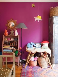 A happy apartment in France. An eclectic mix of furniture some of them vintage, inherited, or from flea market and color details and object. Big Girl Rooms, Boy Room, Kids Room, Baby Decor, Kids Decor, Girls Bedroom, Bedroom Decor, Casa Kids, Turbulence Deco
