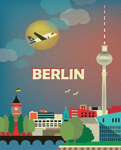 Berlin, Germany Skyline - 8 x 10 Vertical Wall Art Poster Print for Home, Office, and Nursery - style E8-O-BER